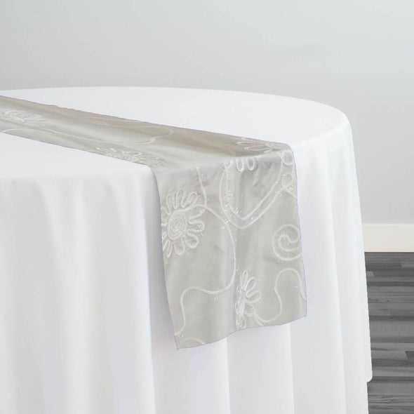 Eyelash Embroidery Table Runner in Ivory