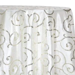 Swirl Sequins Taffeta Table Linen in Ivory