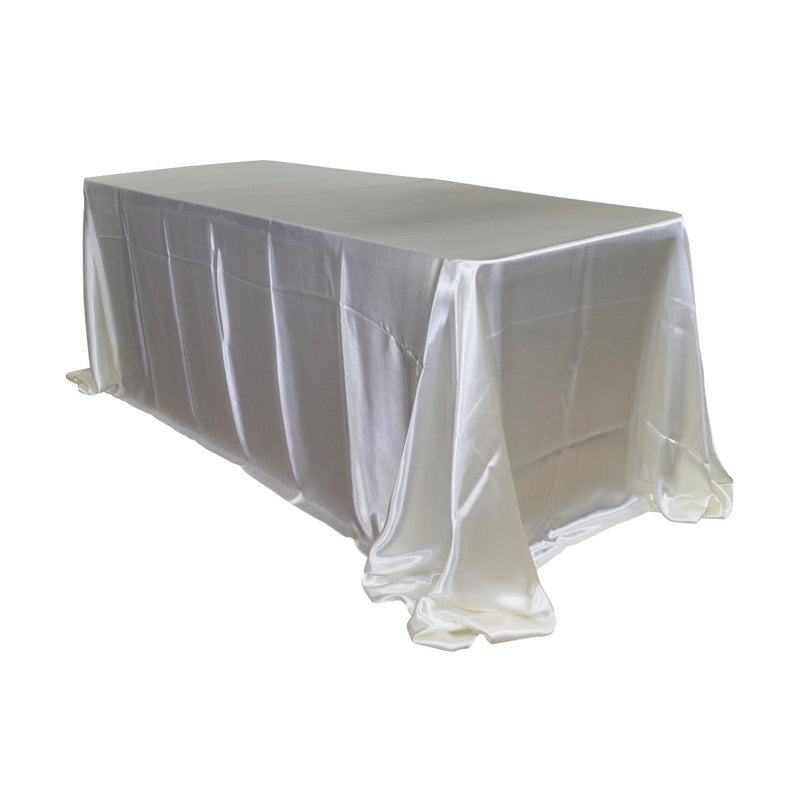 "Economy Shiny Satin 90""x132"" Rectangular Tablecloth - Ivory"