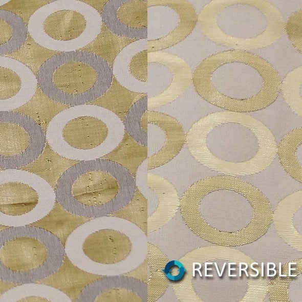 Mosaic Jacquard (Reversible) Table Runner in Ivory and Gold