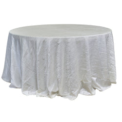 "Economy Crush Taffeta 120"" Round Tablecloth - Ivory"