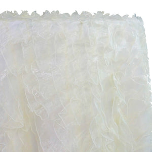 Ruffled Organza Table Linen in Ivory