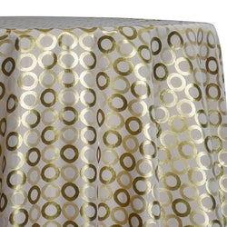 Mosaic Jacquard (Reversible) Table Linen in Ivory and Gold