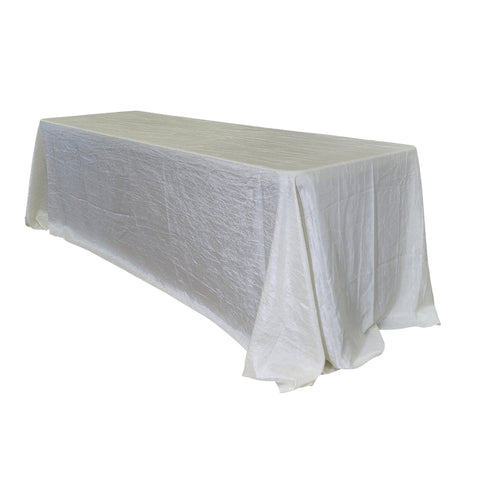 "Economy Crush Taffeta 90""x156"" Rectangular Tablecloth - Ivory"