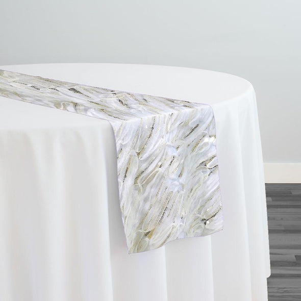 Brilliant Sheer Sequins Table Runner in Ivory