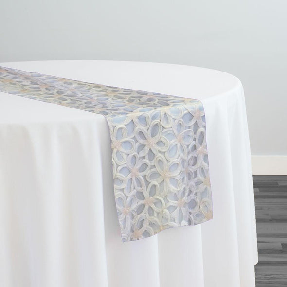 Daisy Sequins Table Runner in Ivory
