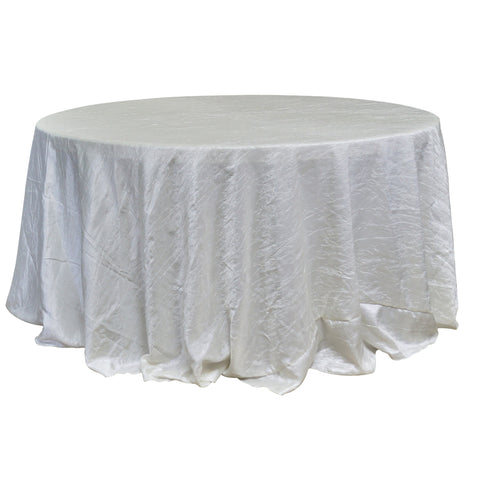 "Economy Crush Taffeta 132"" Round Tablecloth - Ivory"