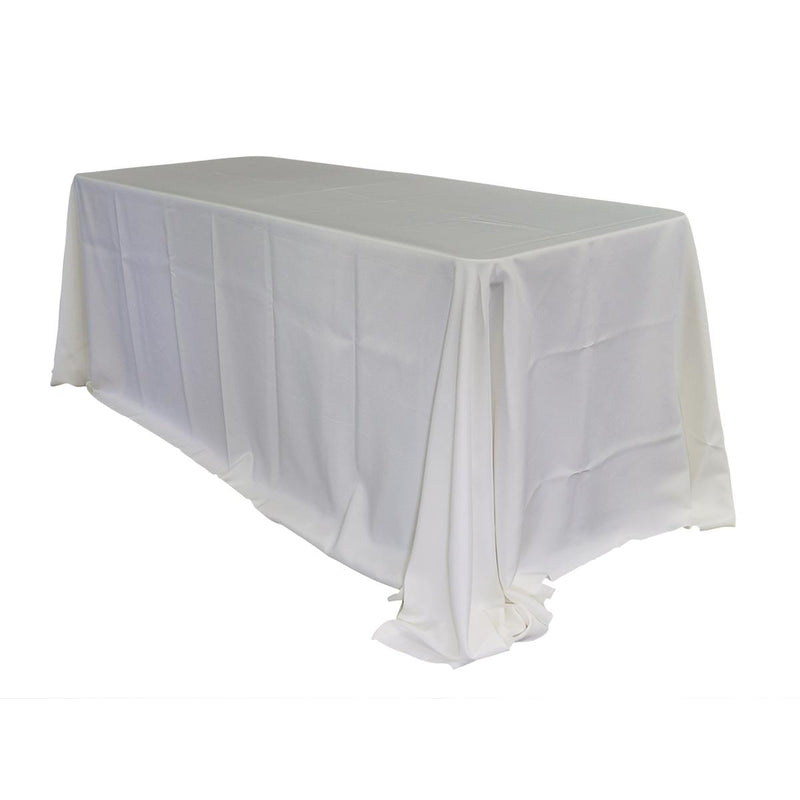 "Economy Polyester Poplin 90""x132"" Rectangular Tablecloth - Ivory"