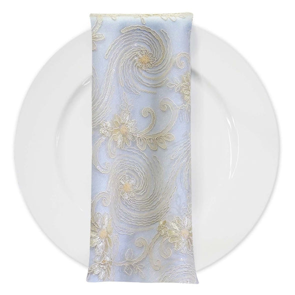 Jasmine Lace (w/ Poly Lining) Table Napkin in Ivory
