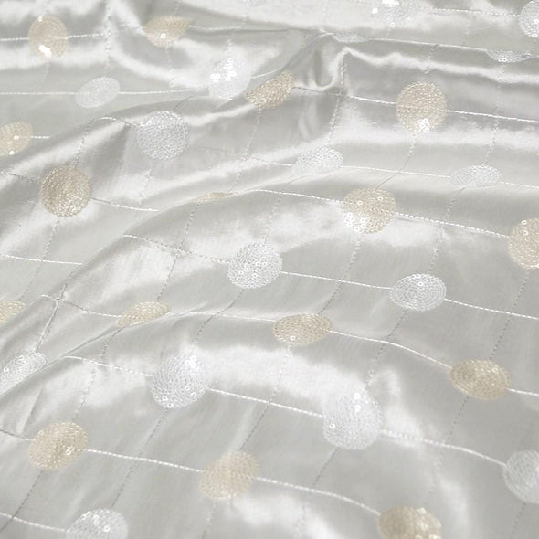 Luna Sequins Taffeta Table Runner in Ivory