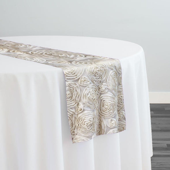 Chiffon Rose (3D) Table Runner in Ivory