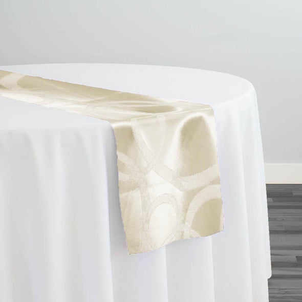 Cirque Jacquard (Reversible) Table Runner in Ivory