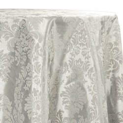 Damask Flocking Taffeta Table Linen in Ivory on Ivory