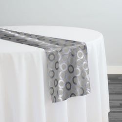 Mosaic Jacquard (Reversible) Table Runner in Ivory and Silver