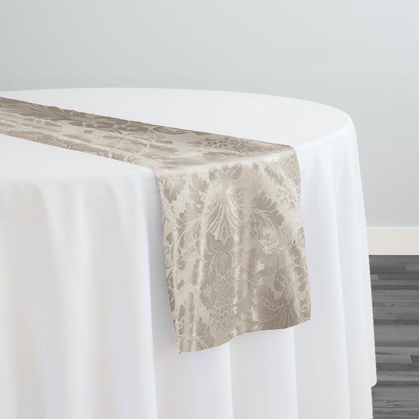 Damask Poly Table Runner in Ivory