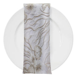 Marigold Sequins (w/ Poly Lining) Table Napkin in Ivory