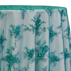 Baby Rose Embroidery Table Linen in Jade