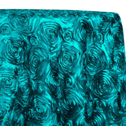 Rose Satin (3D) Table Linen in Jade