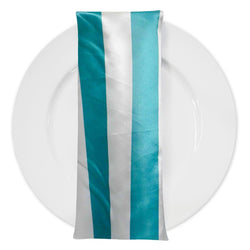"2"" Satin Stripe Table Napkin in White and Jade"