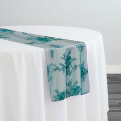 Baby Rose Embroidery Table Runner in Jade