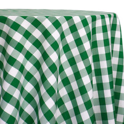 Polyester Checker (Gingham) Table Linen in Kelly Green