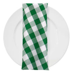 Polyester Checker (Gingham) Table Napkin in Kelly Green