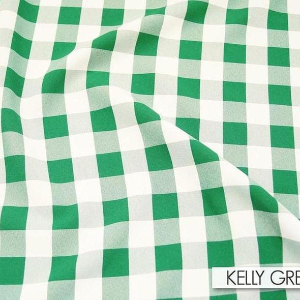 Polyester Checker (Gingham) Wholesale Fabric in Kelly Green