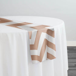 Chevron Print (Lamour) Table Runner in Khaki and White