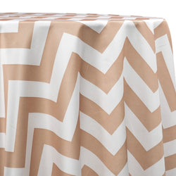 Chevron Print (Lamour) Table Linen in Khaki and White
