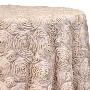 Chiffon Rose (3D) Table Linen in Khaki