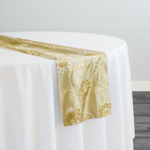 Eyelash Embroidery Table Runner in Khaki