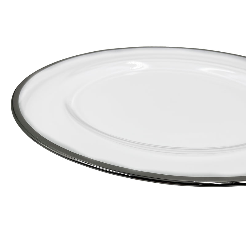 Klasik - Glass Charger Plate in Silver