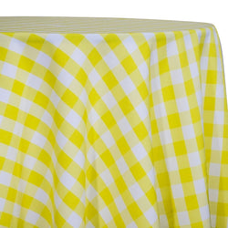 Polyester Checker (Gingham) Table Linen in Light Yellow