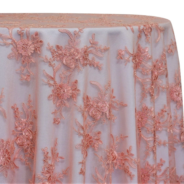 Laylani Lace Table Linen in Coral