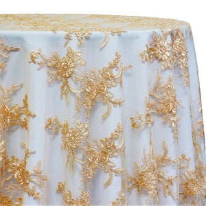 Laylani Lace Table Linen in Gold