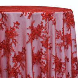 Laylani Lace Table Linen in Red