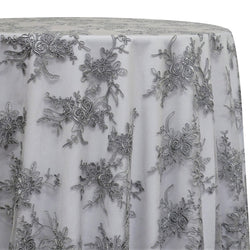 Laylani Lace Table Linen in Silver