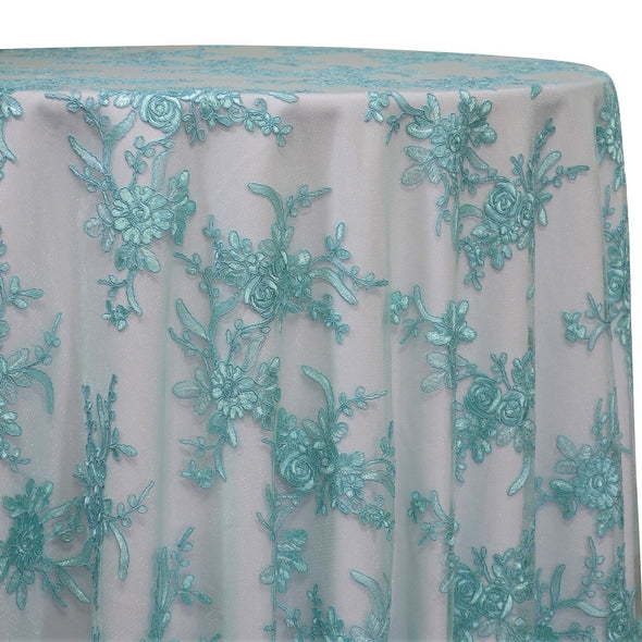 Laylani Lace Table Linen in Teal Green