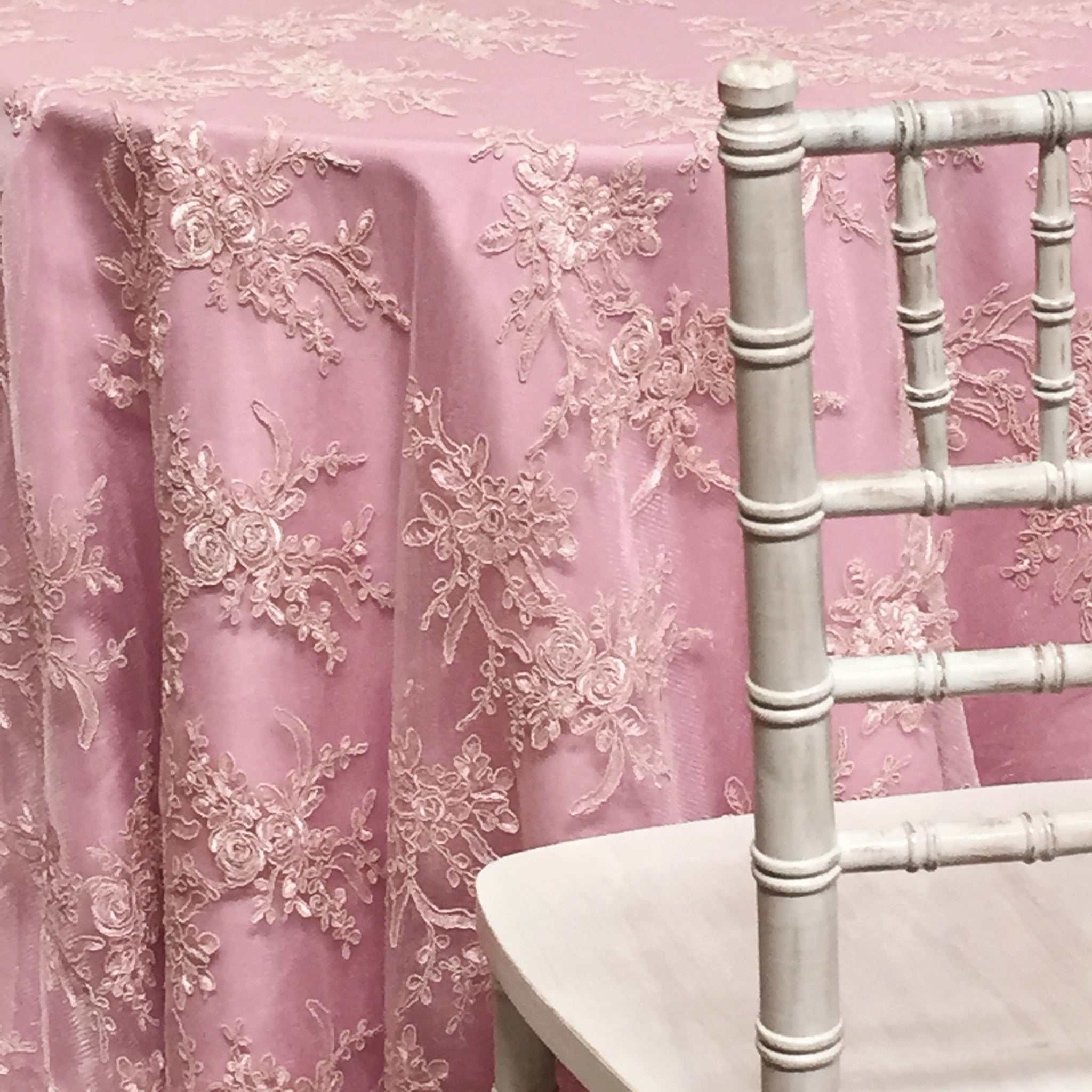 "Laylani Lace - Dusty Rose 120"" Round Wedding Tablecloth"