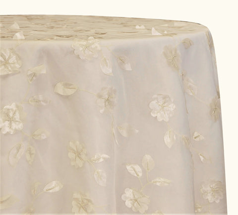"Lily Petal - Ivory 120"" Round Wedding Tablecloth"