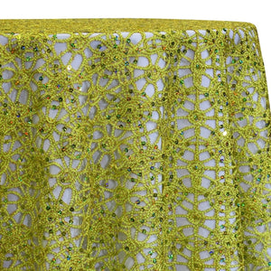 Flower Chain Lace Table Linen in Lime and Gold