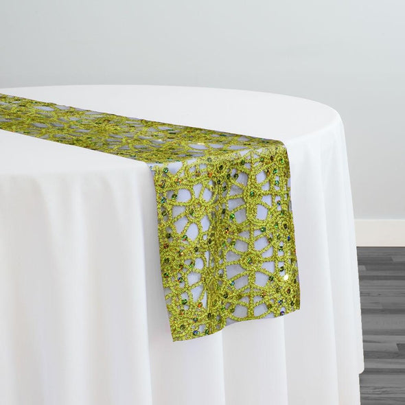 Flower Chain Lace Table Runner in Lime and Gold