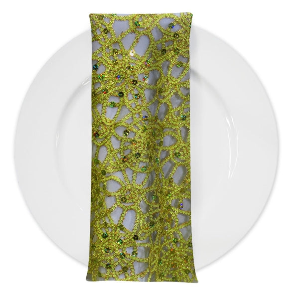 Flower Chain Lace (w/ Poly Lining) Table Napkin in Lime and Gold