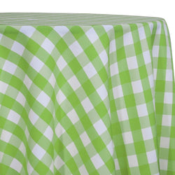 Polyester Checker (Gingham) Table Linen in Lime