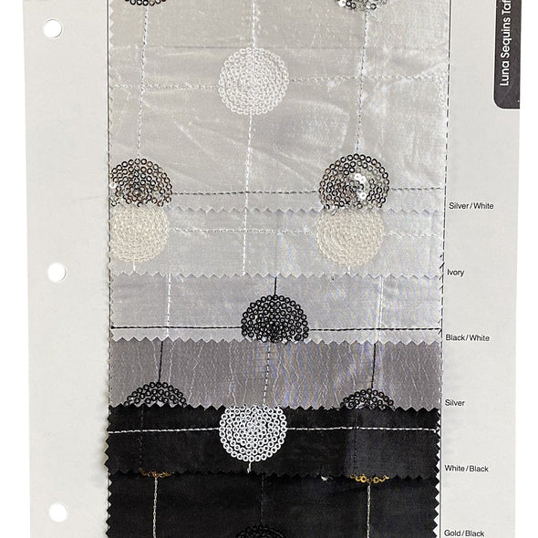 Luna Sequins Taffeta Table Linen in Silver on White