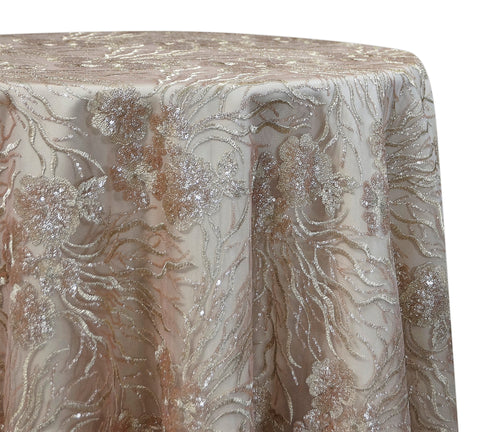 "Marigold Sequins - Rose Gold 120"" Round Wedding Tablecloth"