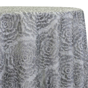 Metallic Rose Table Linen in Silver