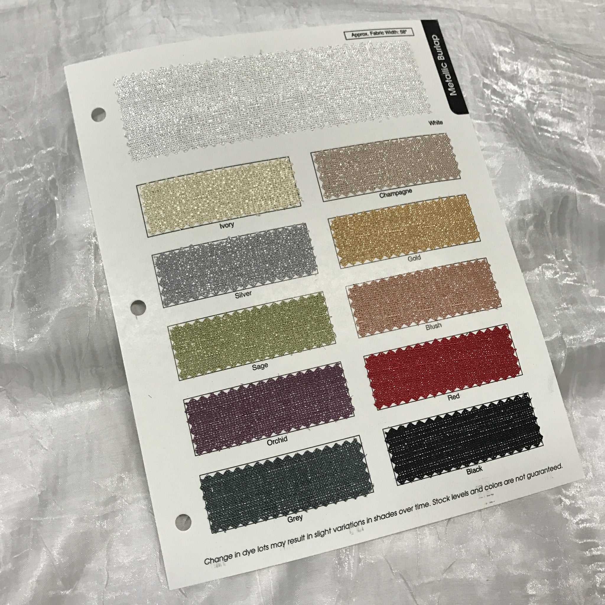 Metallic Burlap Color Card
