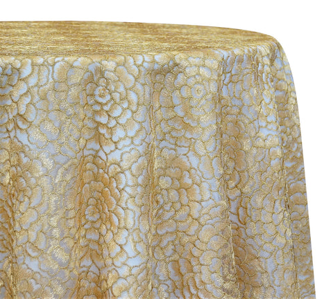"Metallic Rose - Lt Gold 120"" Round Wedding Tablecloth"