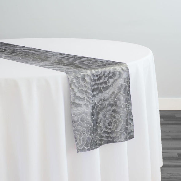 Metallic Rose Table Runner in Silver